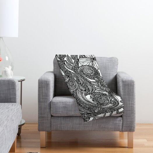DENY Designs Valentina Ramos Bird in Flowers Black White Polyester Fleece Throw Blanket
