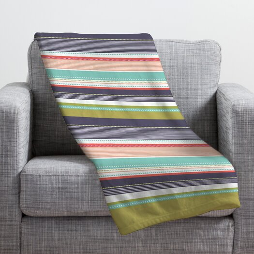 DENY Designs Wendy Kendall Multi Stripe Polyester Fleece Throw Blanket