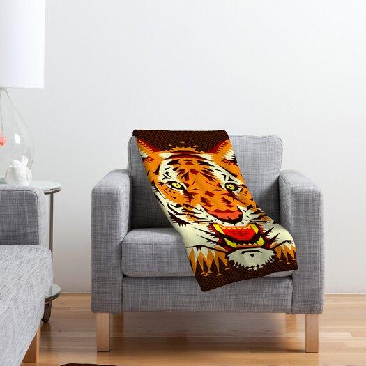 DENY Designs Chobopop Geometric Tiger Polyester Fleece Throw Blanket