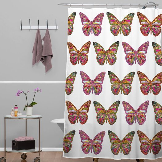 DENY Designs Bianca Woven Polyester Butterflies Fly Shower Curtain