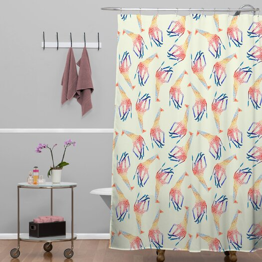 DENY Designs Jacqueline Maldonado Woven Polyester Watercolor Giraffe Shower Curtain