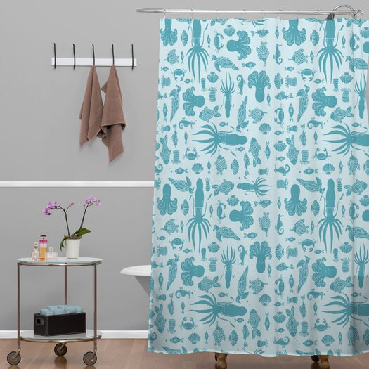 DENY Designs Jennifer Denty Woven Polyester Sea Creatures Shower Curtain