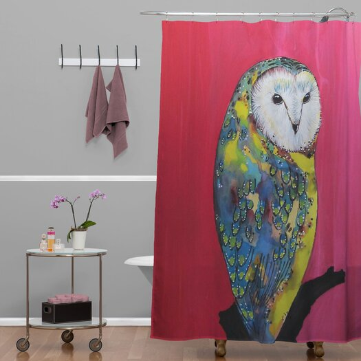 DENY Designs Clara Nilles Woven Polyester Owl On Lipstick Shower Curtain