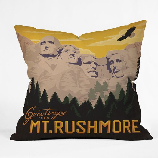 DENY Designs Anderson Design Group Mount Rushmore Woven Polyester Throw Pillow