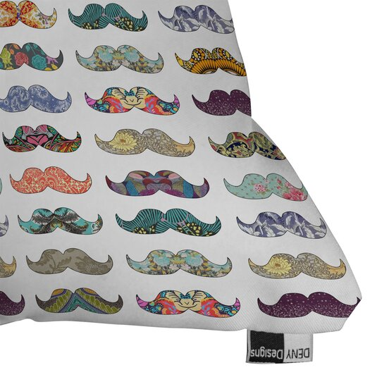 DENY Designs Bianca Green Mustache Mania Indoor/Outdoor Polyester Throw Pillow