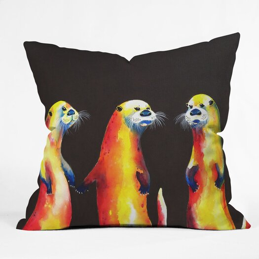DENY Designs Clara Nilles Flaming Otters Woven Polyester Throw Pillow