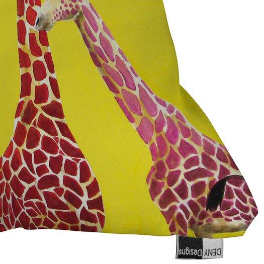 DENY Designs Clara Nilles Jellybean Giraffes Indoor / Outdoor Polyester Throw Pillow