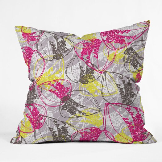 DENY Designs Rachael Taylor Retro Leaves Indoor / Outdoor Polyester Throw Pillow