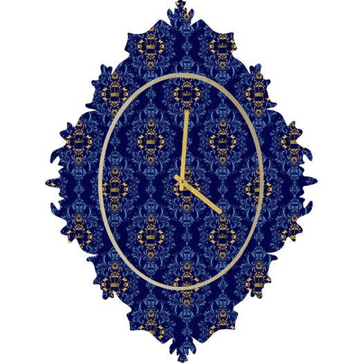 DENY Designs Belle 13 Royal Damask Pattern Wall Clock