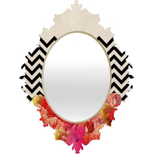 DENY Designs Bianca Green Chevron Flora Baroque Mirror