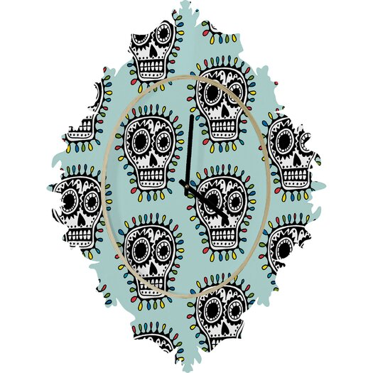 DENY Designs Andi Bird Sugar Skull Wall Clock
