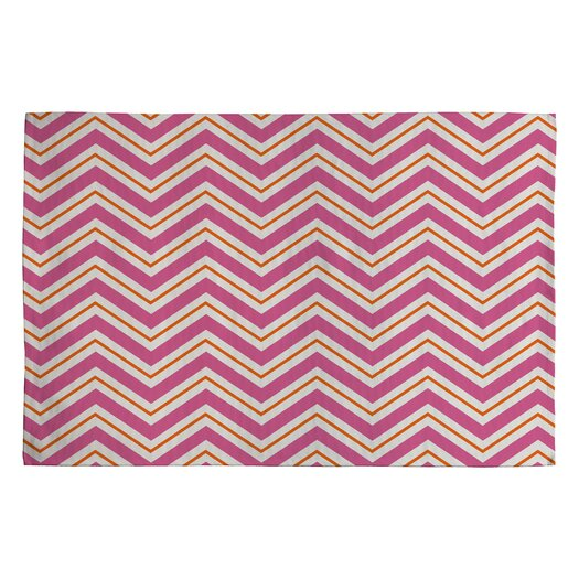 DENY Designs Caroline Okun Berry Pop Pink / Ivory Chevron Area Rug