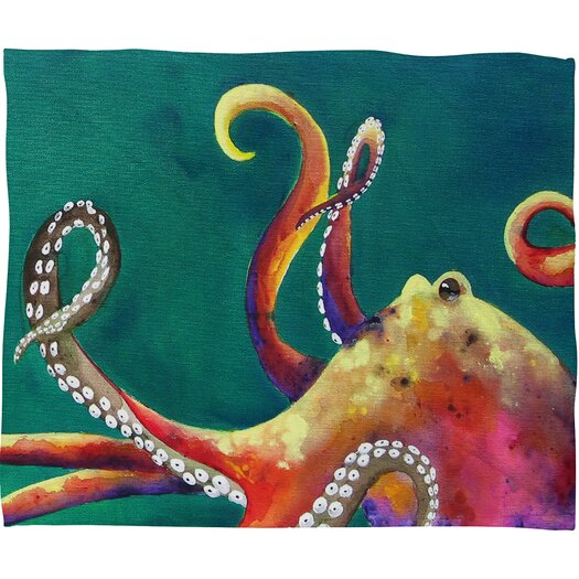 DENY Designs Clara Nilles Mardi Gras Octopus Polyester Fleece Throw Blanket