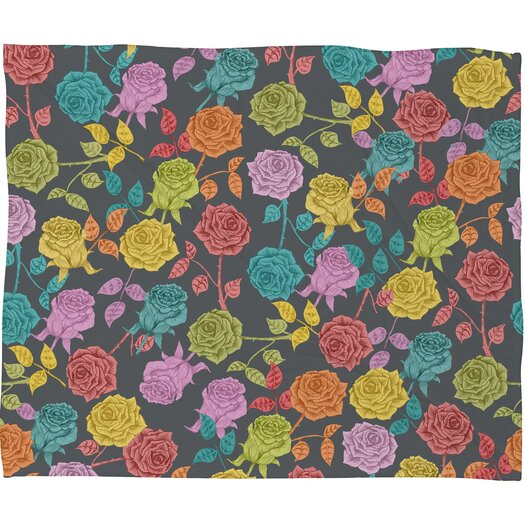 DENY Designs Bianca Green Roses Polyester Fleece Throw Blanket