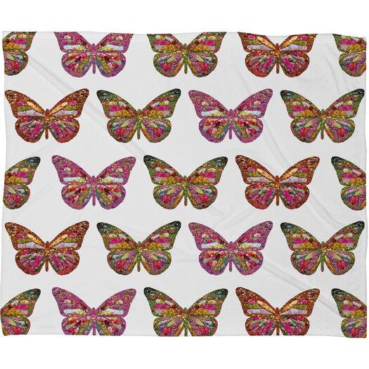 DENY Designs Bianca Green Butterflies Fly Polyester Fleece Throw Blanket