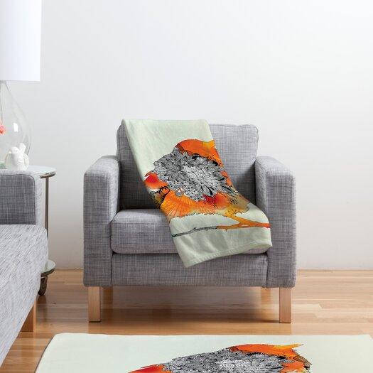 DENY Designs Iveta Abolina Orange Bird Polyester Fleece Throw Blanket