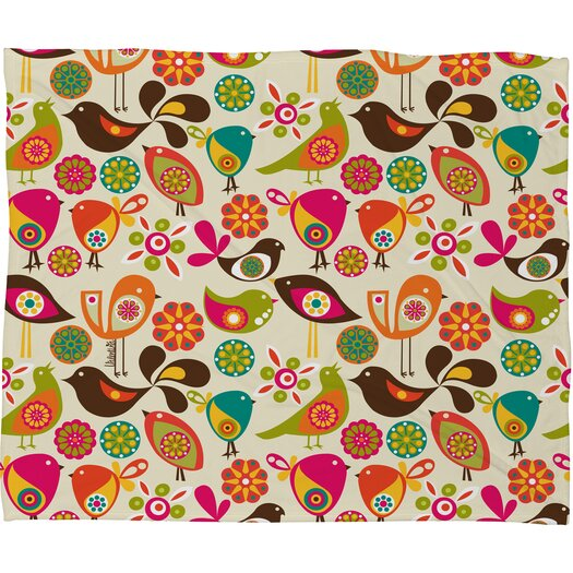 DENY Designs Valentina Ramos Little Birds Fleece Polyester Throw Blanket