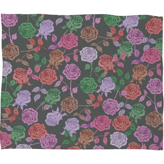 DENY Designs Bianca Green Roses Polyester Fleece Throw Blanket