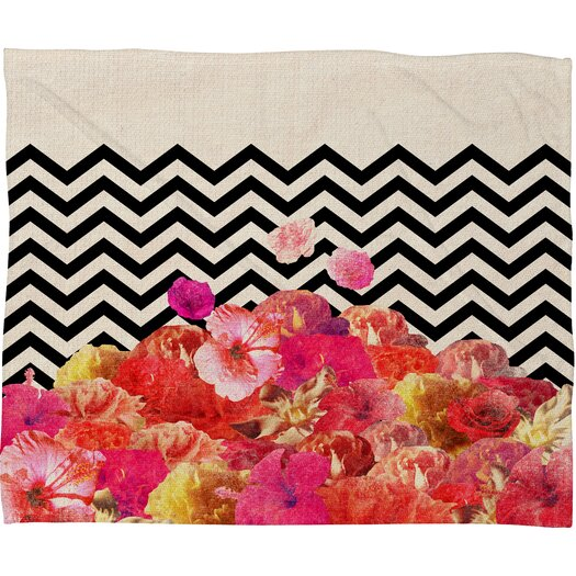DENY Designs Bianca Green Chevron Flora 2 Polyester Fleece Throw Blanket