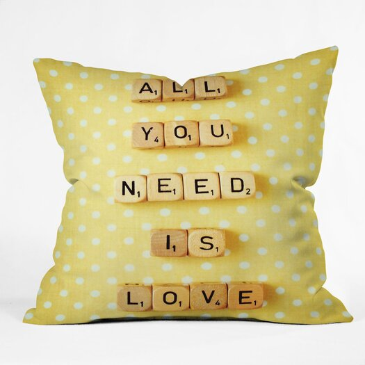 DENY Designs Happee Monkee All You Need Is Love 1 Throw Pillow