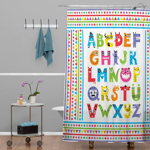 DENY Designs Andi Bird Woven Polyester Alphabet Monsters Shower Curtain