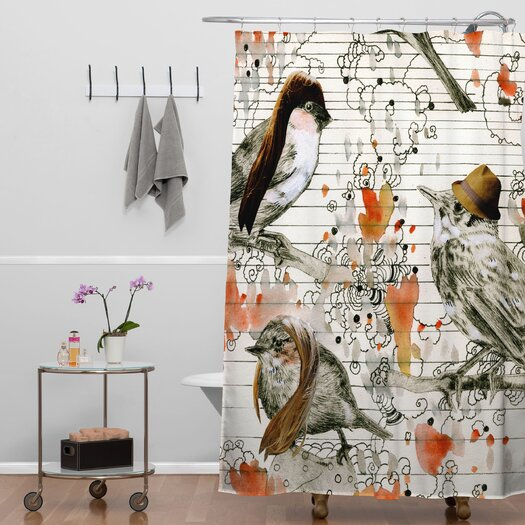 DENY Designs Randi Antonsen Woven Polyester Love Birds Shower Curtain