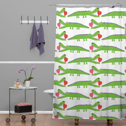 DENY Designs Andi Bird Woven Polyester Alligator Love Shower Curtain