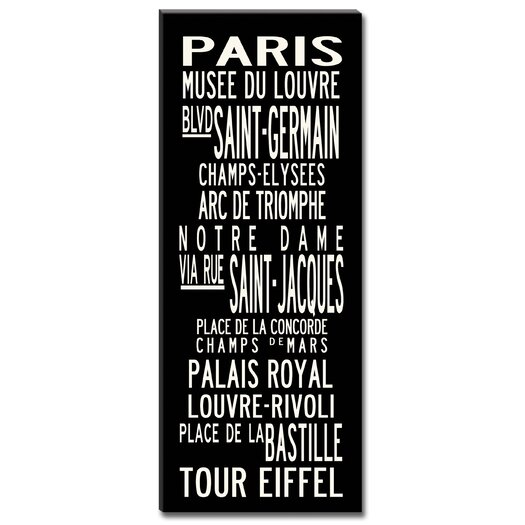 Uptown Artworks Paris Textual Art on Canvas