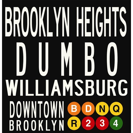 Uptown Artworks Brooklyn Neighbordhoods Textual Art Giclee Printed on Canvas