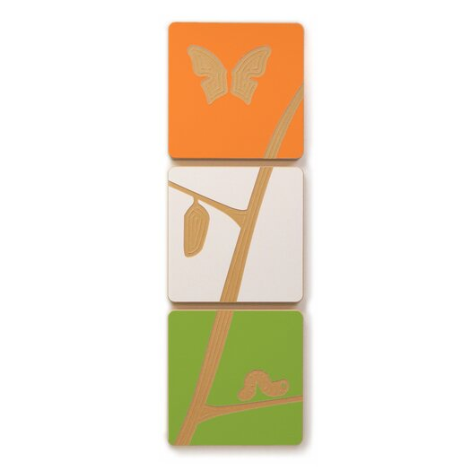Caterpillar to Butterfly 3 Tile Graphic Art Set