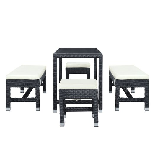 Modway Lacuna 5 Piece Patio Dining Set with Cushions