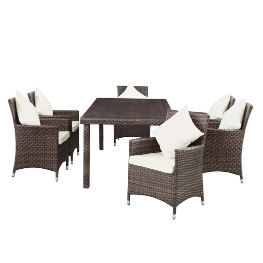 Modway Vista 7 Piece Patio Dining Set with Cushions