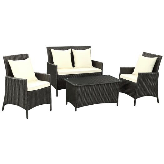 Modway Flourish 4 Piece Seating Group with Cushion