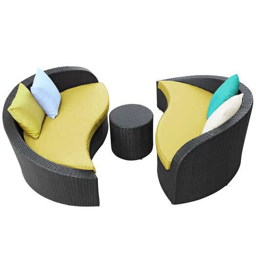 Modway Magatama 3 Piece Lounge Seating Group with Cushion