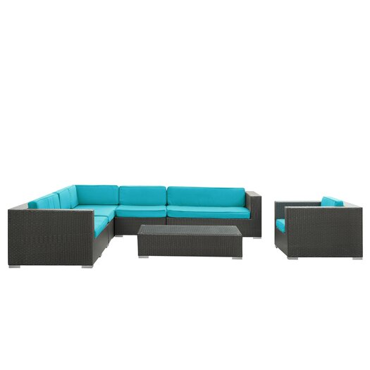 Modway Palm Springs 7 Piece Sectional Seating Group with Cushions
