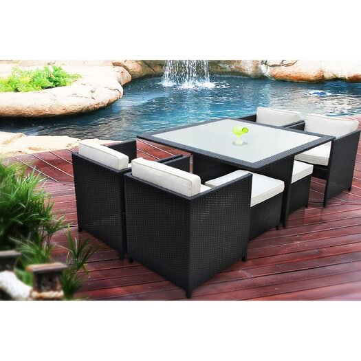 Modway Inverse Outdoor 7 Piece Dining Set with Cushions