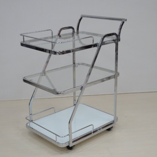 Casabianca Furniture Rimini Kitchen Cart with Glass Top
