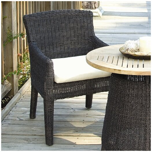 Padmas Plantation Outdoor Bay Harbor Dining Arm Chair With Cushion