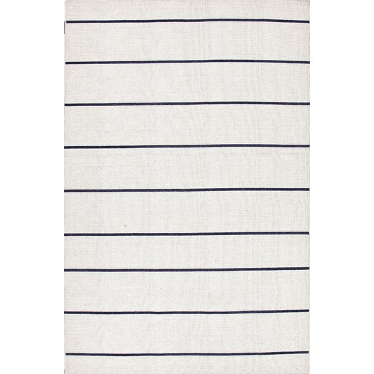 Jaipur Rugs C. L. Dhurries Vanilla Ice & Medieval Blue Stripe Area Rug