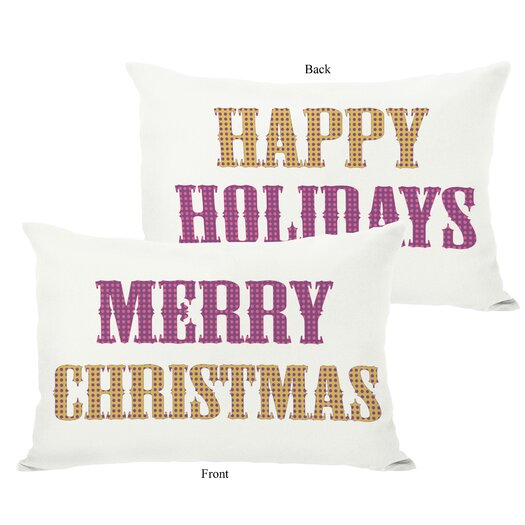 One Bella Casa Holiday Merry Christmas and Happy Pillow