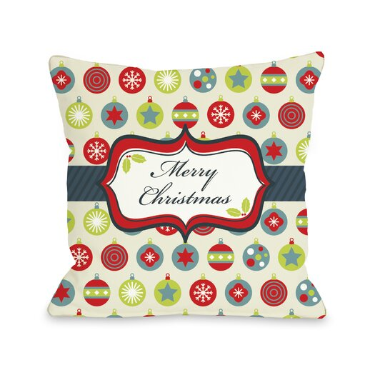 One Bella Casa Holiday Merry Christmas Ornaments Pillow