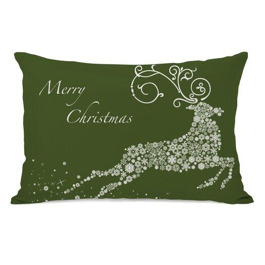 One Bella Casa Holiday Snowflake Reindeer Pillow