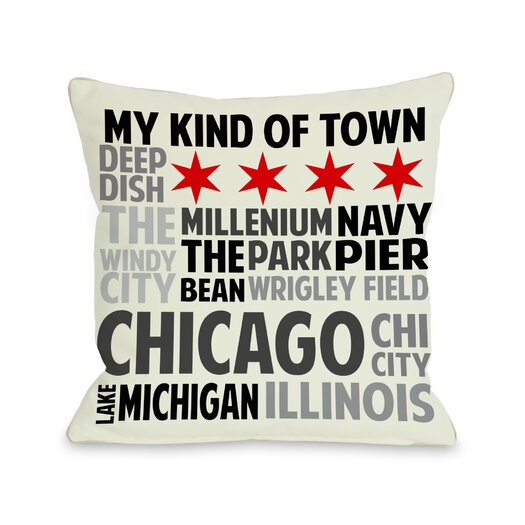 One Bella Casa Chicago Illinois Subway Style Words Pillow