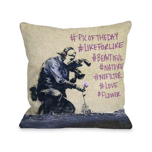 One Bella Casa Flower Hashtags Pillow