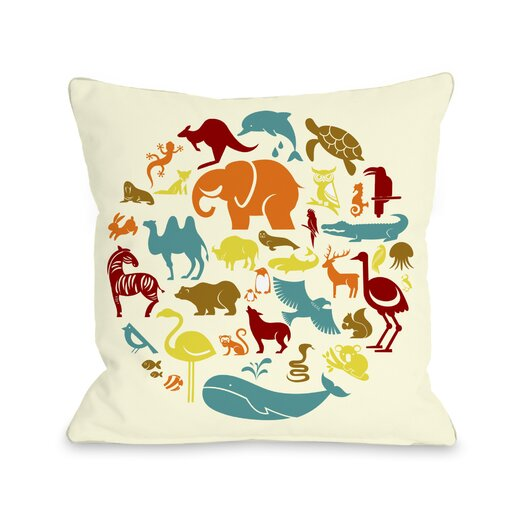 One Bella Casa Safari Animals Pillow