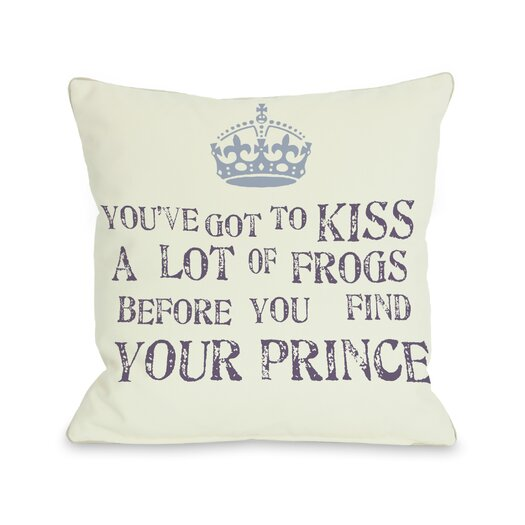 One Bella Casa Kiss A Lot of Frogs Pillow