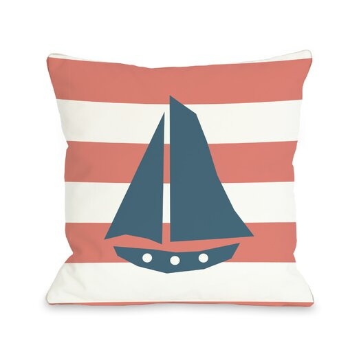 One Bella Casa Striped Sailboat Pillow