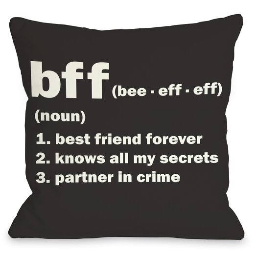 One Bella Casa BFF Definition Pillow