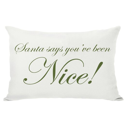 One Bella Casa Holiday Santa Says Naughty or Nice Reversible Pillow