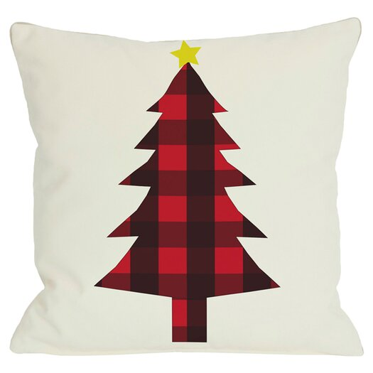 One Bella Casa Holiday Plaid Christmas Tree Reversible Pillow